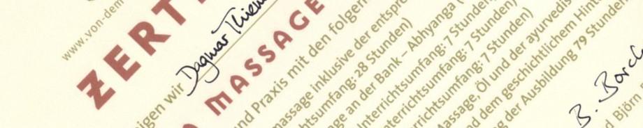 Zertifikat Ayurveda Massageausbildung