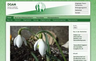 Screenshot der Webseite der DGAM, Deutsche Gesellschaft Alternative Medizin
